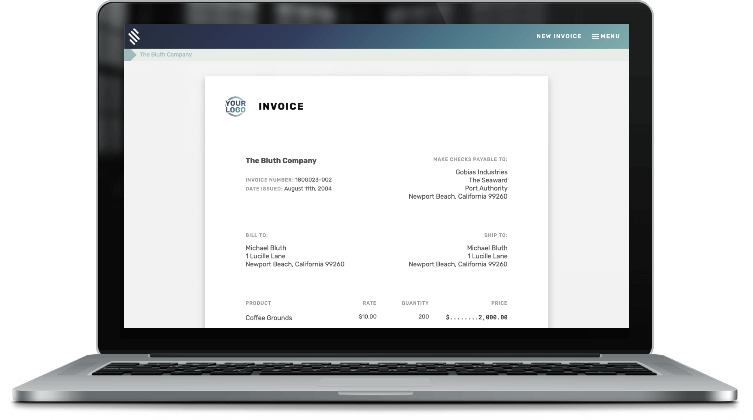 Computer printing an invoice out of its screen